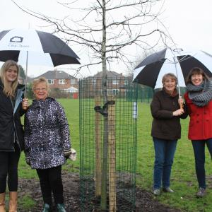Pictured L – R: Beth Kelsall, City of Trees; Marje Kelly and Joan Green volunteers and local residents and Ruth Hannan, Chair of Gorgeous Gorse Hill.
